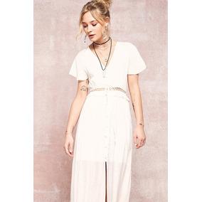 Vestido Largo Blanco Con Botones