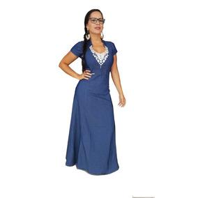 Roupas Femininas Vestido Longo Jeans Moda Evangélica Renda