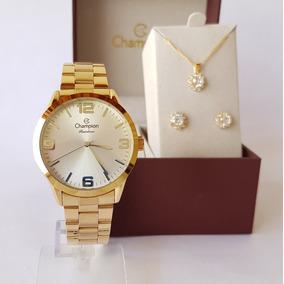 f4719385444 Relógio Champion Feminino Cn29892z + Kit De Brincos E Colar