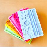Kit 6 Molde De Silicone Para Decoração De Bolos E Cupcakes