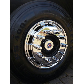 Par Calota Roda Dianteira Cromada Speed Truck Aro 22,5