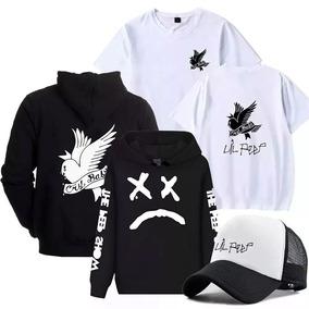 Kit Blusa Moletom + Boné + Camiseta Lil Peep Música Rap Toop