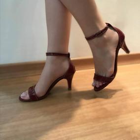 Sandália Salto Fino Verniz Vinho