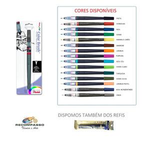 Caneta Pincel Caligrafia Aquarelável Color Brush Pentel