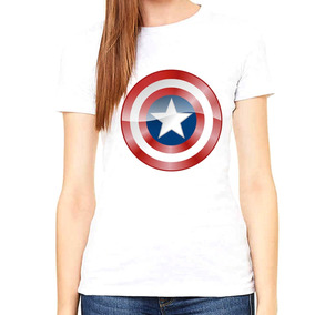 Hermosa Capitan Americo Logo Mujer Poly