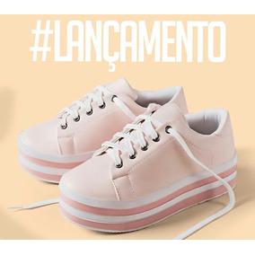 Tênis Feminino Sola Alta Casual Plataforma Rosa E Branco