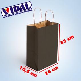 Sacola De Papel Kraft Preta 24x10,5x33 50 Unidades
