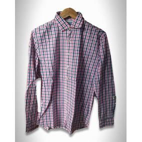 Camisa Xadrez Rosa/azul Marinho Masculino He By Mango