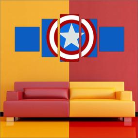 Quadro Decorativo Escudo Capitão América Mosaico 5 Peças