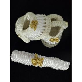 Sapatinho Croche Artesanal Com Tiara Para Bebe Menina