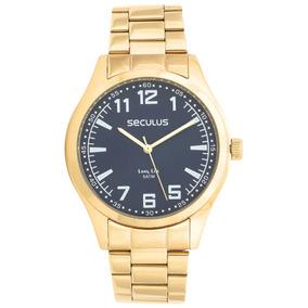 Relógio Masculino Dourado Seculus Azul Inox 28865gpsvda2
