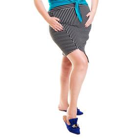 Roupa Feminina Saia Reta Listrada Com Fenda Plus Size +56