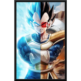 Quadro Poster Moldura Dragon Ball Z Super Vegeta Fan Arte
