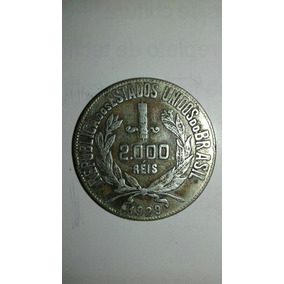 P5 Moeda De 2000 Réis Soberba De Prata Ano 1929 Mocinha