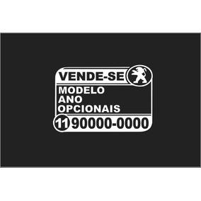 Par Adesivos Placa Vende-se Veículo Vendo Carro 25x14,6 Cm