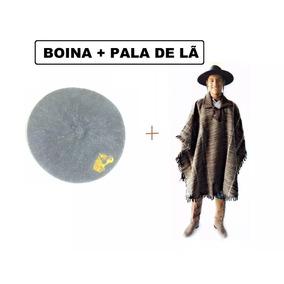 Boina + Pala De Lã Ovelha Poncho Gaucho Quentinho 4cf3e8be96a