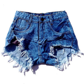 Kit 2 Shorts Jeans Feminino Destroyed Hot Pant Rasgado Anita