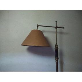 Lámpara De Pie Antigua Bronce Madera