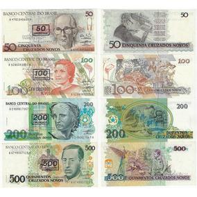 Cédulas 210/213 - 50 100 200 500 Cruzeiros Carimbo Todas Fe