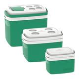 Combo 3 Caixa Térmica 32, 12, 5 L Verde Cooler Soprano