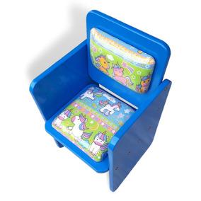 Poltrona Infantil Azul Mini Sofá Sofazinho Unicórnio Menino