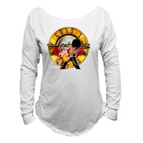 Camiseta Guns And Roses Banda Canoa Manga Longa Feminina 01 30d0c12b3d2