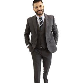 Traje De Caballero Con Chaleco Marino Oxford Slim Colucci