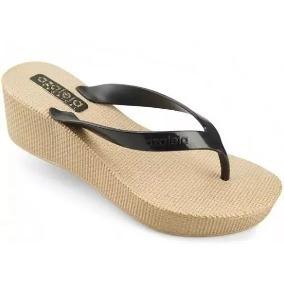 323db72fe Dijean Tamanco Anabela Dedo Bege Chinelos Azaleia - Sapatos no ...