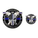 Aiiz Coleccionables Policía Moneda Pin Punisher Fino Blue...