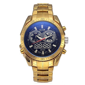 Relógio Masculino Original-dourado Frete Grátis