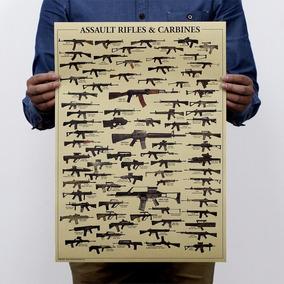 Pôster Cartaz Fuzil Rifles Carabina Armas Mundiais 51x35