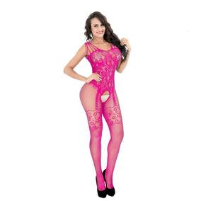 f314e0bb847 Macacão Arrastão Lingerie Sensual Bodystocking Pink - Mac2