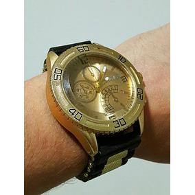 246dd39860e Relógio Masculino Barato Dourado Pulseira Borracha Importado