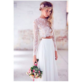 Conjunto Top Encaje Falda Larga Novia Boda Civil Playa