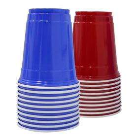 Mix 100 Copos Americano Vermelho E Azul Importado Original