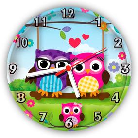 Relógio Parede Cozinha Quarto Infantil Coruja Corujinha 30cm