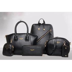 Bolsa Couro Luxo Mendlor Cor Preta Kit Conjunto 6pç Black