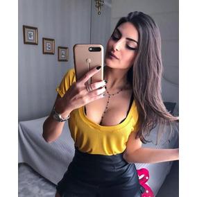Blusa Feminina Podrinha Cropped Amarrar Básica Cores 2019