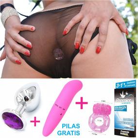 Plug Anal Sexy Lencería + Vibrador + 3 Condones + Anillo
