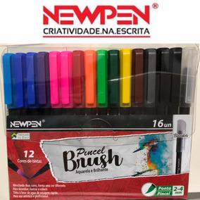 Caneta Pincel Brush Newpen - Kit Com 16 Unidades Com Blender