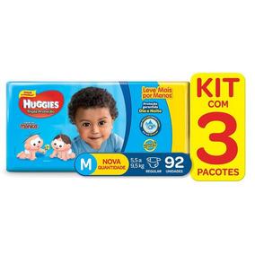 Kit De Fraldas Tripla Proteção Hiper M Huggies - 276 Fraldas