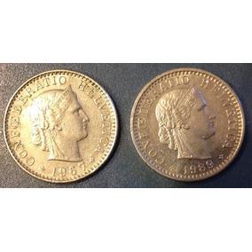 Lote De 2 Monedas De Suiza Confederación Helvética (a06)