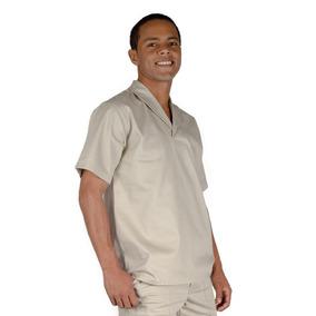 Camisa Profissional Em Brim M c Gola Italiana Areia 0e06179d9ceff