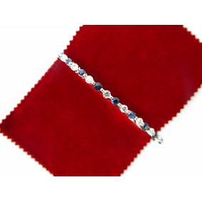 Pulsera Con Diamantes Y Zafiros En Oro Blanco.