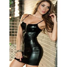 Sexy Vestido Corto Tipo Látex Cierre Al Frente b23c2bafb275