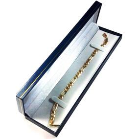 Esclava Pulso Figaro 3 X 1 Oro Macizo 10k Pesa 9gr 21cm. 6mm