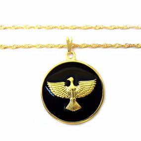 Corrente Folheada A Ouro Com Pingente De Medalhão Pomba - Joias e ... 37d4899576
