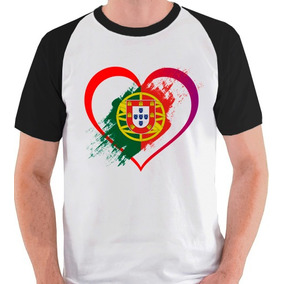Camiseta Eu Amo Portugal País Bandeira Camisa Blusa Raglan. 2 cores. R  39  89 19eddfd61a0f2