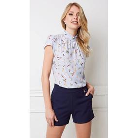 Blusa Feminina Gola E Manga Babado Camiseta Estampada b60a93fa12420