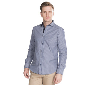 Camisas Hombre Casuales Rayas Azul Marino Slim Fit B85306
